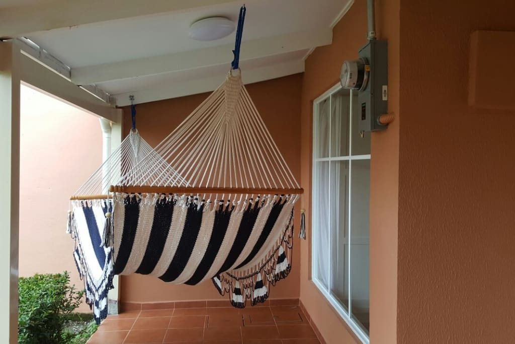 Handmade hammock outside