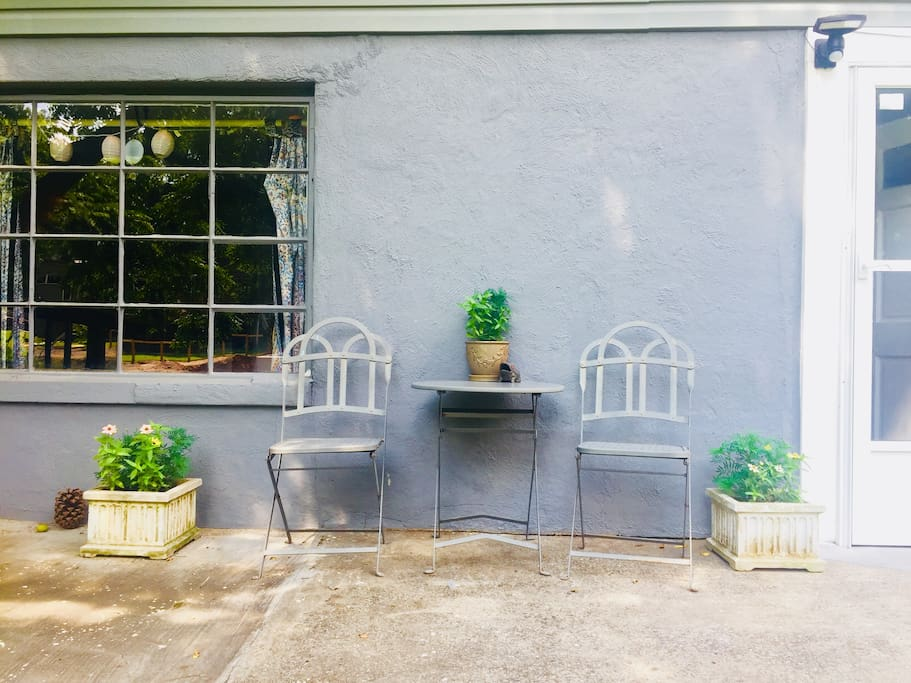 New planters adds charm for eating outside.
