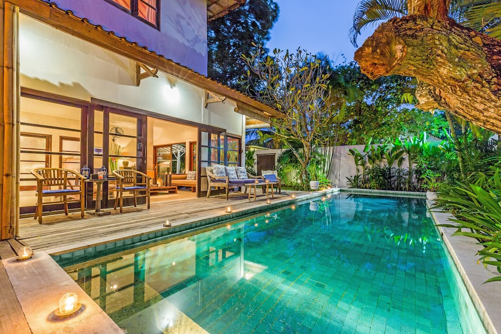 Private 12m pool at sunset