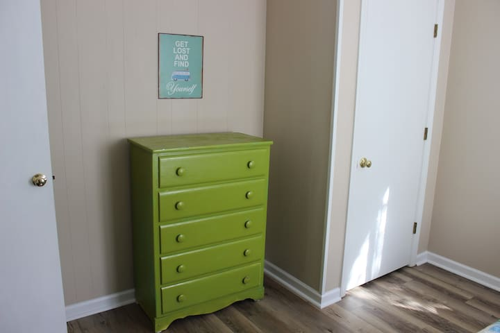 Private bedroom closet drawers for storage
