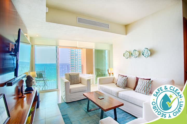 Bright & Breezy Ocean View Condo | Pools, Gym