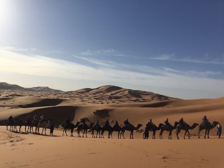 Merzouga typical luxury camp promotion. Camel trek