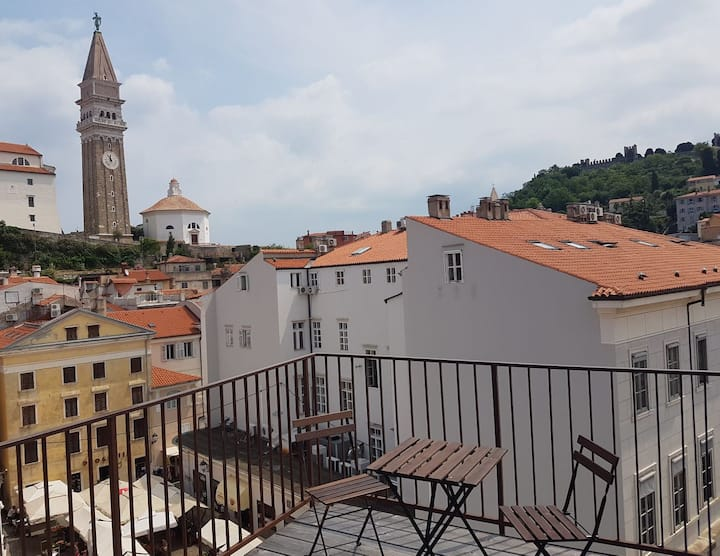 Terrace, Piran Near Sea - Old Town Private Studio