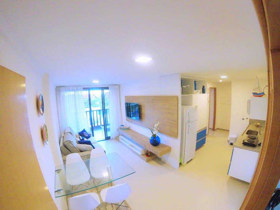 Sala de estar, jantar e cozinha do Flat - Living room, dining room and kitchen of Flat