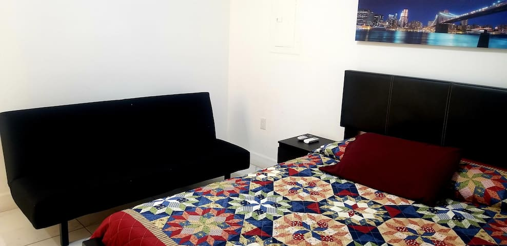 In the room there is a sofa bed too.  The room is available for reservations up to 3 people