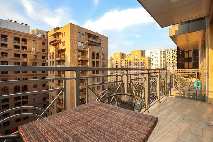 9th floor apt. with balcony on Buzand street