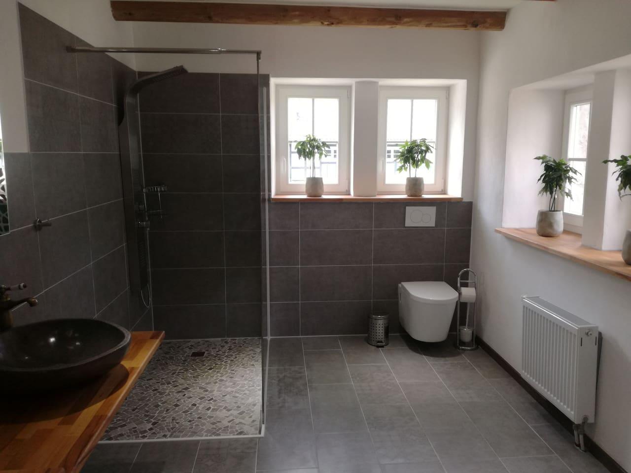 modern eingerichtetes Badezimmer mit ebenerdiger Dusche und viel Tageslicht