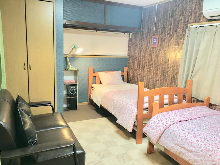 【Free clean fee】Private twin room shared bath room