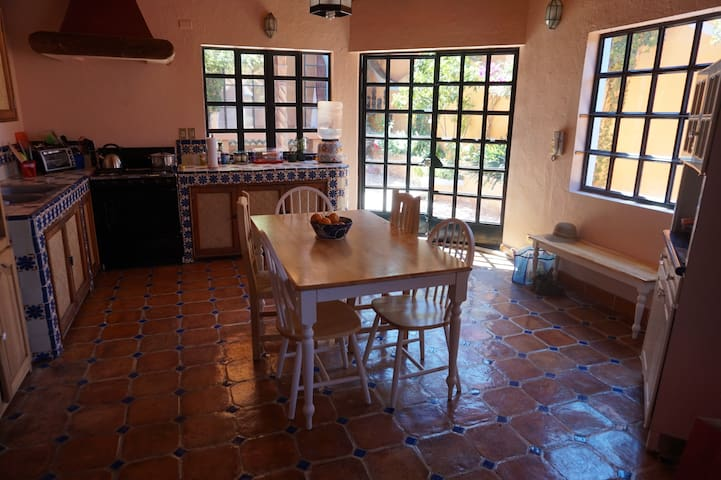 Large, fully equipped kitchen.