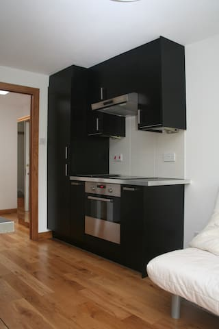 Kitchen with built-in fridge-freezer