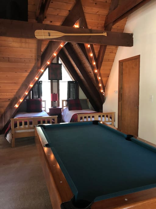 A dream sleepover in the loft! Shoot a game of pool into the night or play one of many board games, provided.