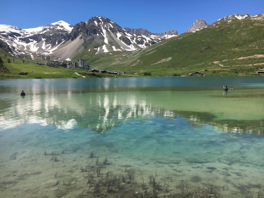 Vue Val Claret depuis lac de Tignes