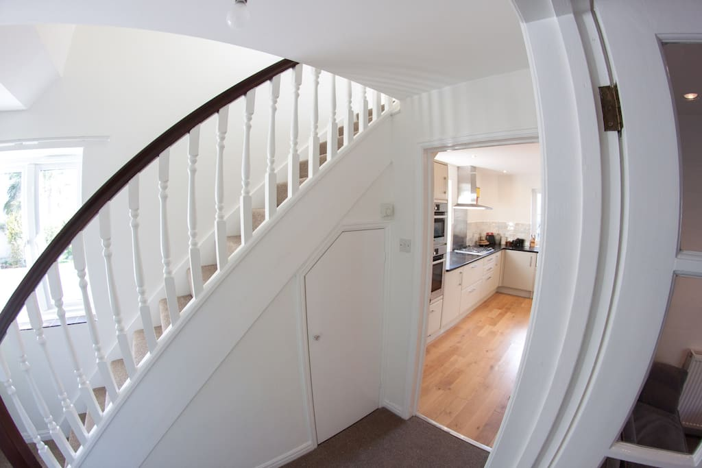 The hallway into the kitchen.