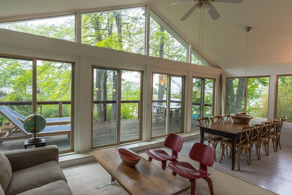 Porch and dining area overlooks water