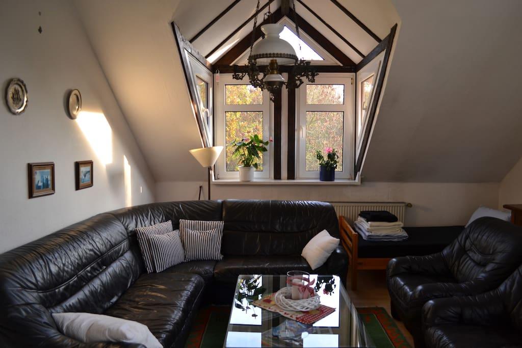 Wohnraum mit Flachbildfernseher und 1 Bett 0,90 mx2,00m.