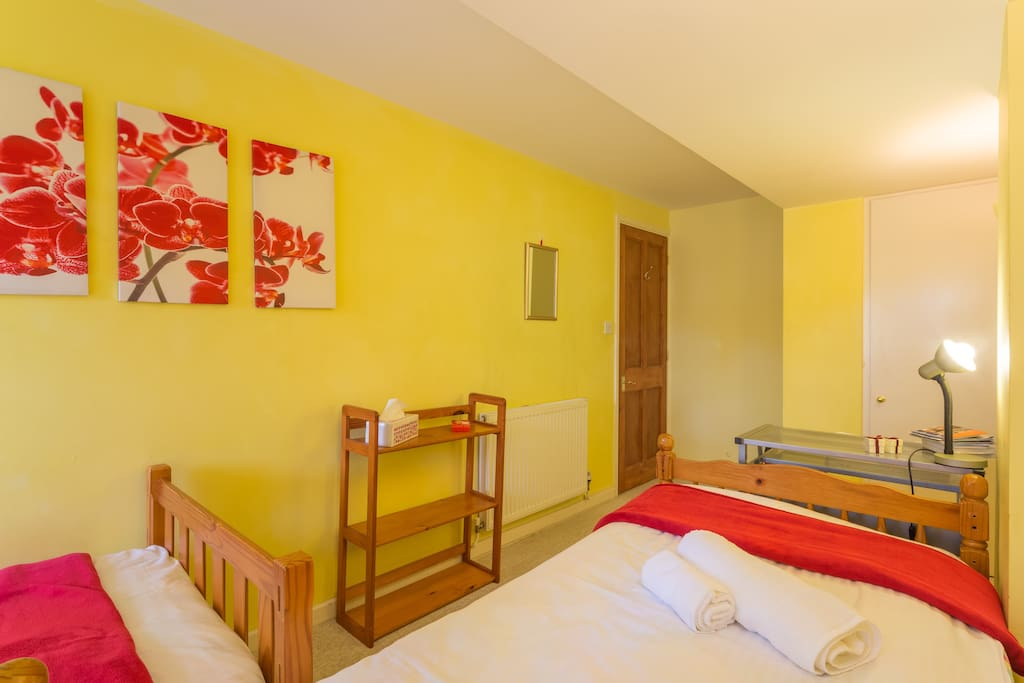 Twin/single bright and warm downstairs room. 2 individual beds.