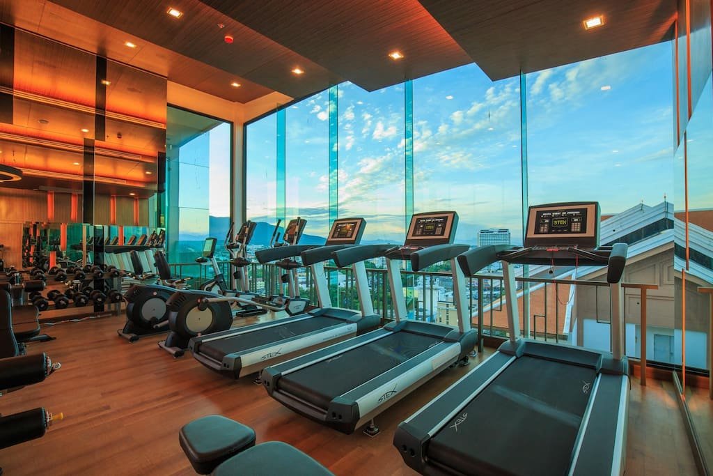 Rooftop Gym with city & mountain view, many Gym instruments are allow for the guest.