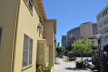 This is the front of our building. We're located in the Arts District next to the Westin Hotel. Catch the Free Special Red Passport Tourist Bus just in front to all tourist attractions.
