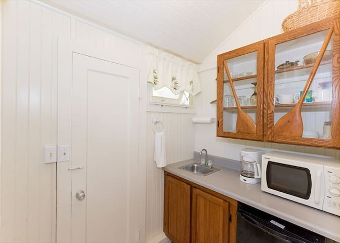 Cozy kitchenette with microwave and fridge.