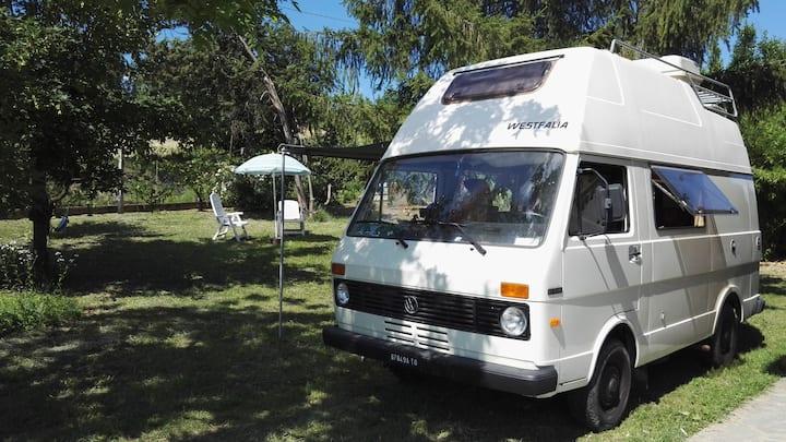 Camper vintage in campagna