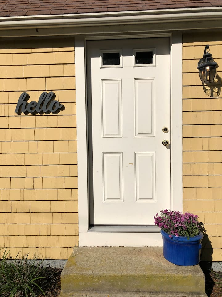 Front door of the apartment (completely separate entrance from owner's)