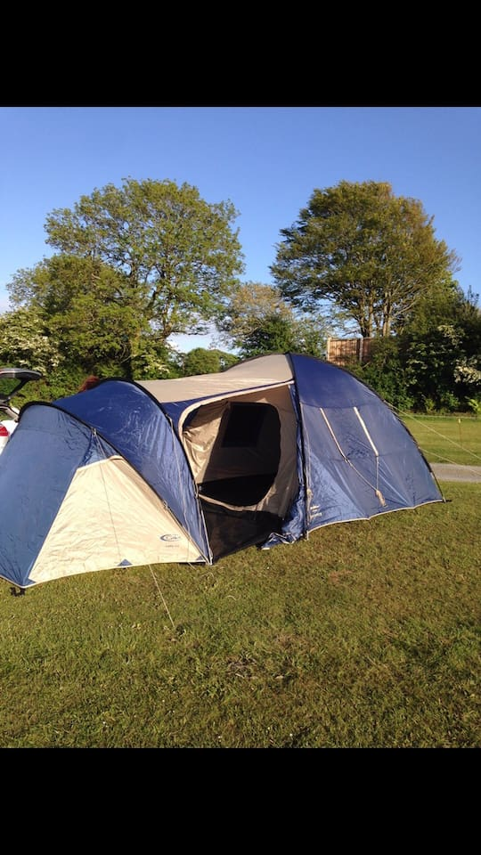 6 man tent available from £35 per night, camping stove also included