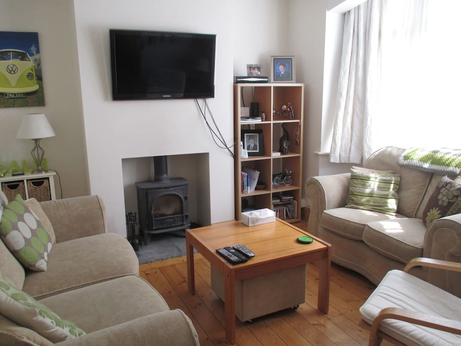 Cosy living room with log burner and TV.