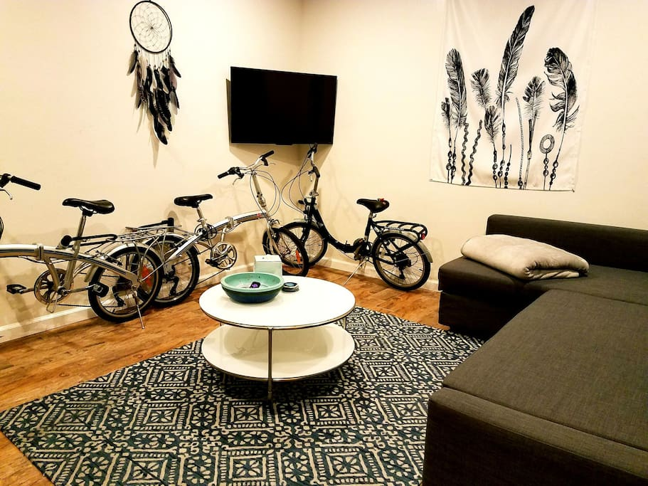 We provide our guests 3 complimentary bikes to use. These bikes are actually foldable for convenient storage