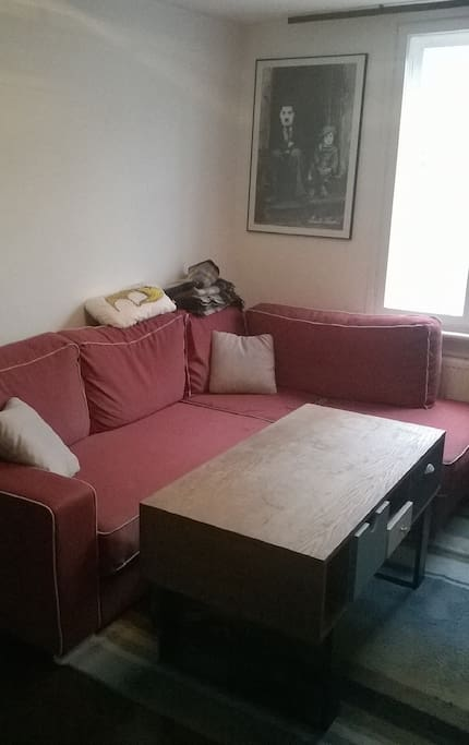 Kanapa wraz ze stolikiem kawowym w salonie.