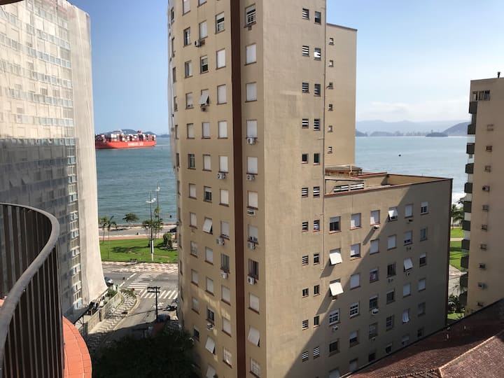 Sala living Kit Ponta da Praia - Vista para o mar