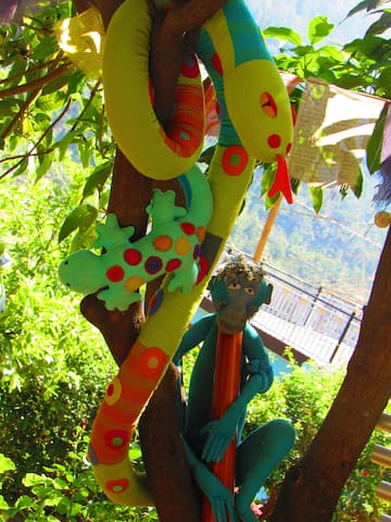 Jaggu the blue monkey, a very well known and popular character in Matli village, christened in 2016 by a grade five class, when Stephen taught in the village school.