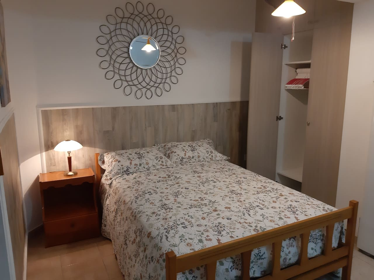 Double bed with very nice wardrobe