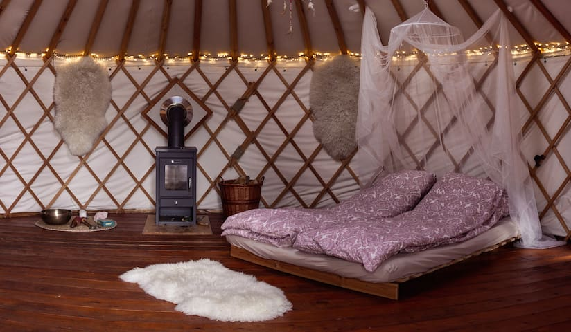 Unique yurt at biological farm
