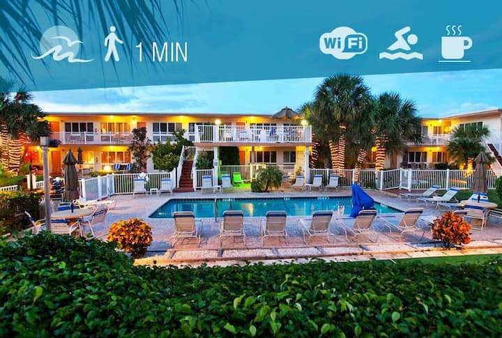 condo 300 feet from beach with heated pool