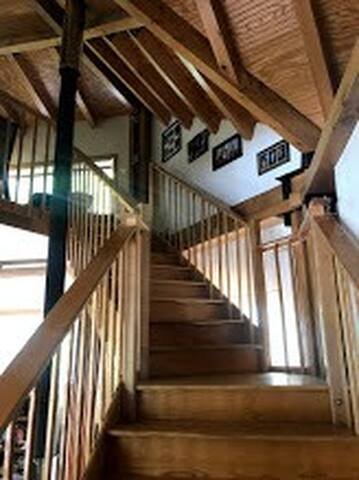 Stairs made of reclaimed wood