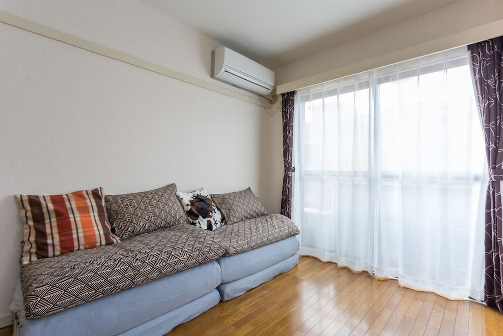 very comfortable room with large windows.