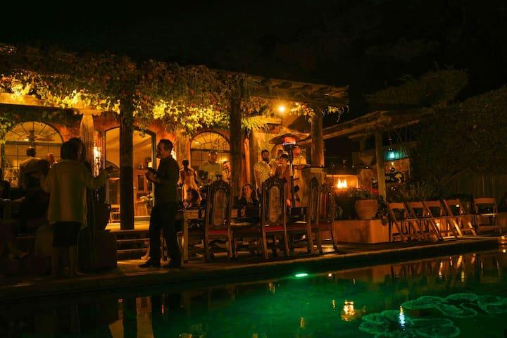 Poolside gathering