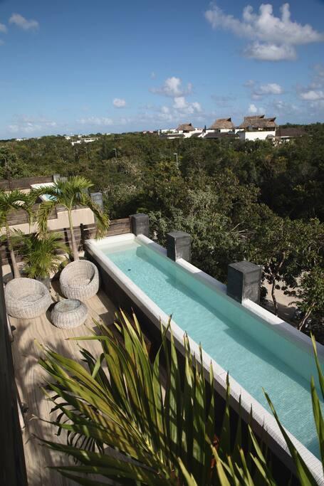 Vista aérea de piscina y terraza.