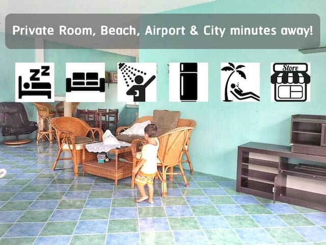 Private Room, Beach, Airport & City minutes away!