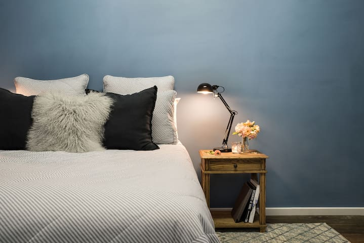 Luxury linens on the queen size bed.