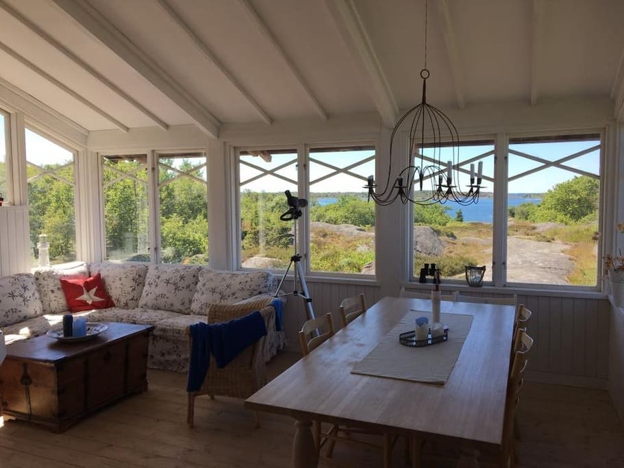 View from the livingroom with 180 degree view of the archipelago.