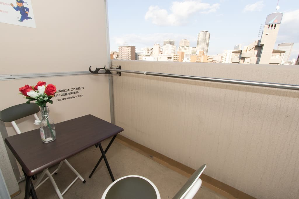 We have a balcony for Osaka city view!