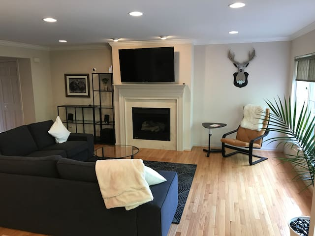 55'' smart TV and Klipsch speakers for music
