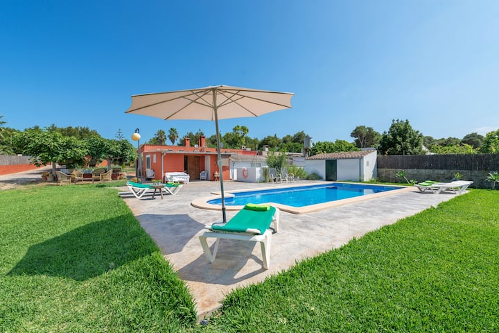CAN CALAFAT - Villa with private pool near the beach. Free WiFi