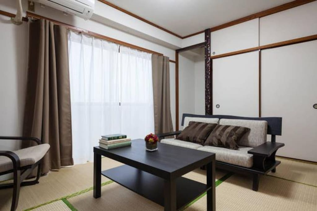 Traditional Japanese interior with tatami mats.