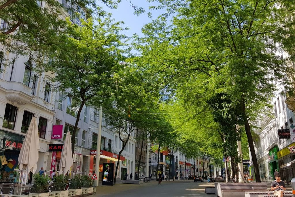 Shopping, coffes, serveral restaurants, bars, many shops, you are located in the famous mariahilferstrasse, nowdays a pedestrian zone
