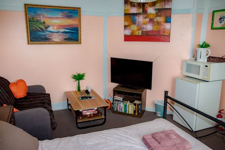 Private lockable bedroom with free wifi, linen, towels, fridge, coffee, tea, cutlery, microwave, kettle, couch, tv, dvd player, dvd's, books and games.