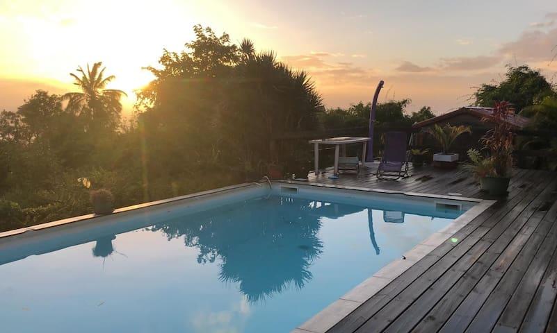 Voici la piscine ainsi que les chaises longues.