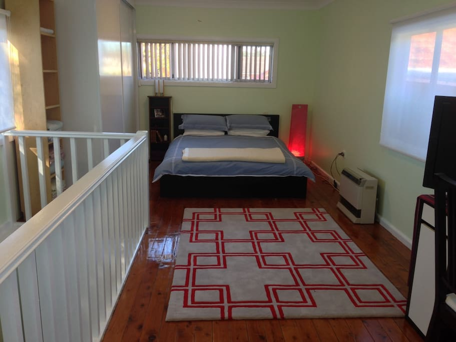 Main bedroom, gas heater, built in cupboards