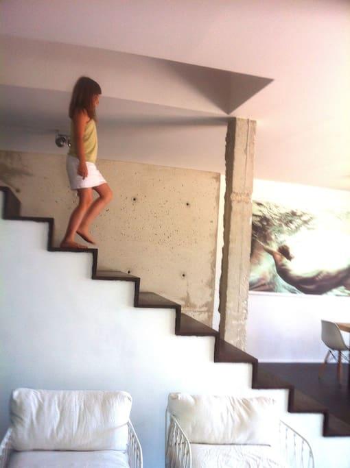 escalier pièce centrale